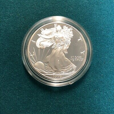 1999 American Eagle Silver Dollar .999 Fine 1oz Silver Coin with box, case & COA