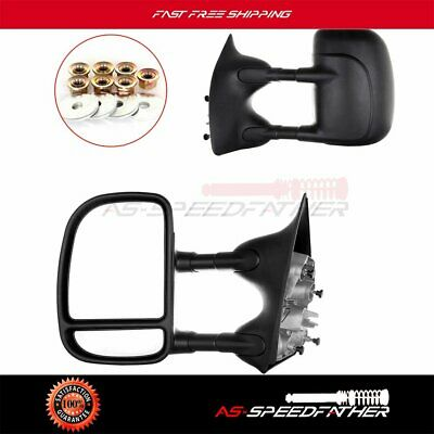 Towing Mirror Manual Telescoping Fold for 99-16 Ford F250 Super Duty Truck Pair