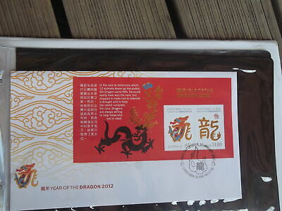2012 Christmas Island Year Of The Dragon M/sheet First Day Cover