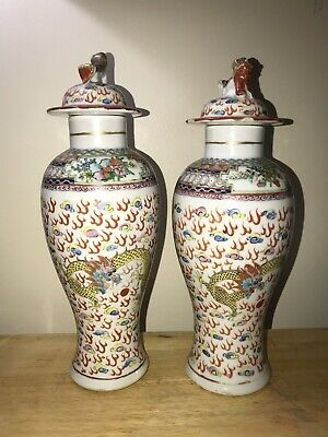 Pair of Antique Chinese late 19th/20th Century Five Clawed Dragon Vase