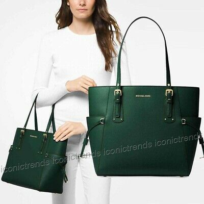 2382aae04ddd NWT 🌲 Michael Kors Voyager Crossgrain Leather East West Tote Bag Racing  Green