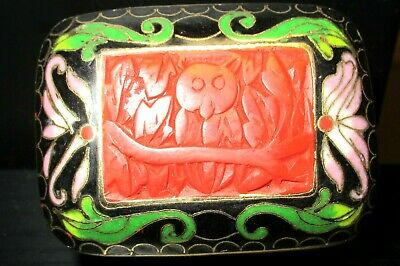 Rare Small Chinese Owl Carved Cinnabar Lacquer Cloisonne Enamel Bowl Jar Box