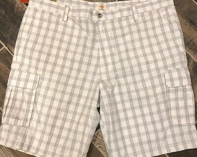 dae7f70a54 New NWT Dockers Men's Washed Cargo Shorts Size 42 Light Gray White Plaid