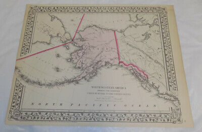 1872 Antique COLOR Mitchell Map of NORTHWESTERN AMERICA, aka ALASKA