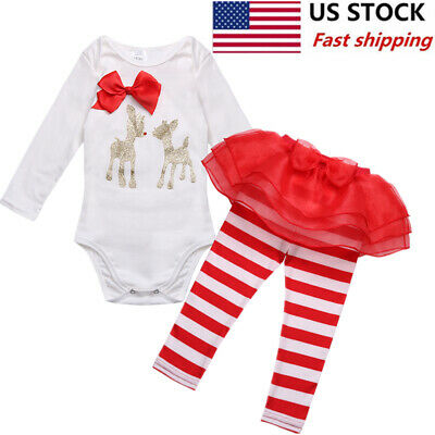 6d53e505be7f TODDLE INFANT BABY Girl 1st Christmas Outfit Deer Bowknot Romper ...