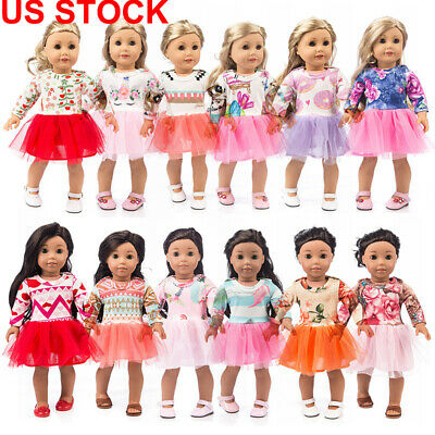 US 18inch Cute Doll clothes Mini Long Sleeve Dress Baby Girl Doll Skirt Kid Gift