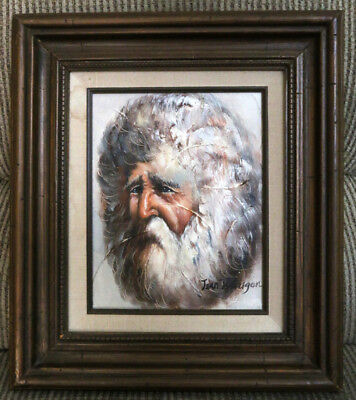 Original Oil Painting on Canvas -  Bearded Silver-haired Man Signed by Pegugon