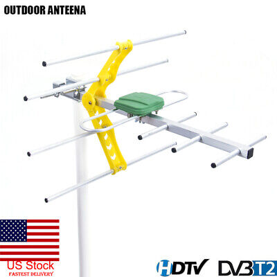 US HDTV 1080p Outdoor Amplified Digital Antenna UHF VHF FM Long Range  TV 15dB s