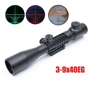 Tactical 3-9X40EG Optical Sight Scope Green Red Illuminated Reticle 20mm Mount