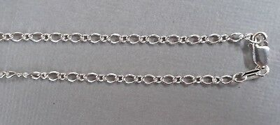 1 sterling silver oval figaro chain 41cm long with lobster clasp