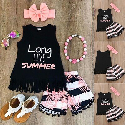New 2PCS Summer Baby Kids Girl Toddler Tank Top Vest+Short Pants Outfits Clothes