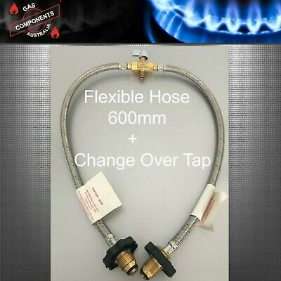 CARAVAN BRAIDED GAS PIGTAIL KIT CHANGEOVER TWIN CYL POL - 1/4 INV FLARE 600mm