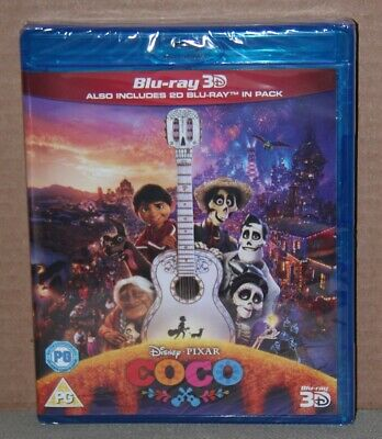 COCO 3D (3D/2D Blu-ray, 2018) Brand New, Cracked Case, Region Free