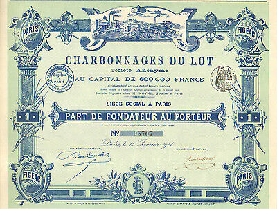 Charbonnages du Lot SA, parte de fundador, Paris, 1911