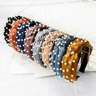 Fashion Women Headband Twist Hairband Pearl Bow Knot Ties Hair Band Accessories