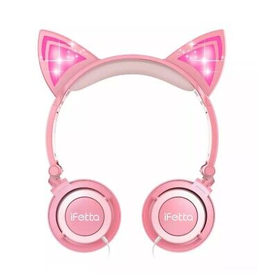 Cat Ear Headphones Pink Foldable LED Lights Headset Earphones Cosplay Gamer NEW