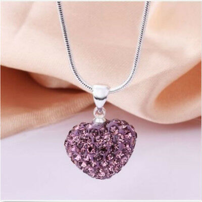 Women Crystal Heart Pendant Silver Necklace Jewelry 925 Sterling Chain Accessory
