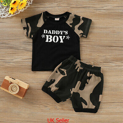 UK Toddler Kids Baby Boys Camouflage Clothes Outfits T Shirt Tops Shorts Pants