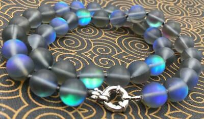 Natural 6//8//10//12mm white Gleamy Rainbow Moonstone Round Gems Necklace18-36/'/'AAA