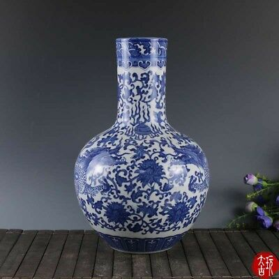 China Dynasty Blue And White porcelain Painting dragon Twig pattern flower Vase