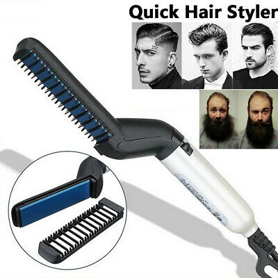 Quick Beard Straightener Multifunctional Hair Comb Curling Curler ShowCap Men AU