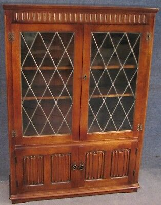 Jacobean Style Carved Oak Bookcase Cabinet No 2