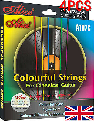 4PCS Alice A107C Normal Tension Classical Guitar Strings Colourful Nylon UK