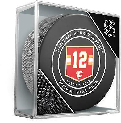 Jarome Iginla Calgary Flames 3/2/19 Jersey Retirement Night Official Game Puck