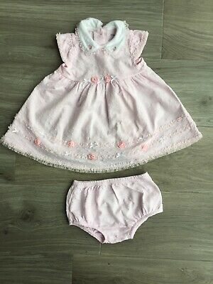 Baby Girl Little Me Pink Rose Dress And Knickers. Size 9 months.