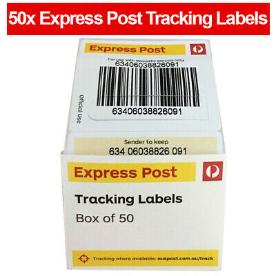 50 x AUSTRALIA EXPRESS POST TRACKING LABELS STICKERS AUSPOST TRACK PARCEL LABEL