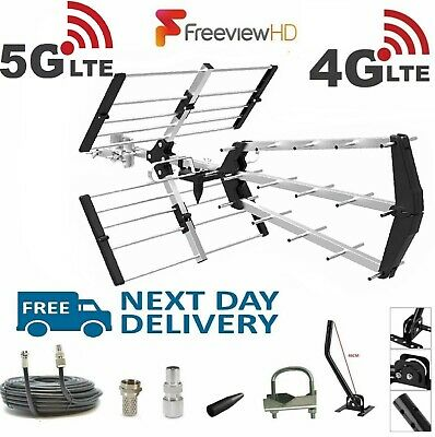 TV Aerial 4G Filter Triple Boom 48 Element Freeview Digital HD Full Install Kit