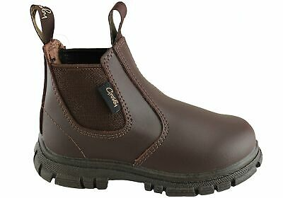 Grosby Ranch Brown Kids Elastic Sided Pull On Boot