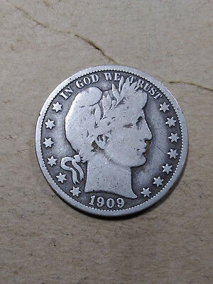 1909 O 50C Barber Half Circulated  90 % Silver US Coin  BH140 VG+/F  ANTIQUE