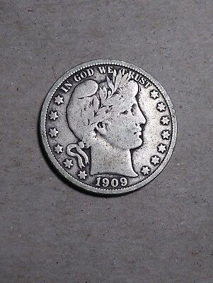 1909 S 50C Barber Half Circulated Condition 90 % Silver US Coin #283 F+