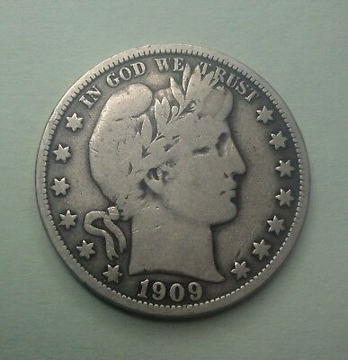 1909  50C Barber Half  Circulated  90 % Silver US Coin #BH138 VG+/F