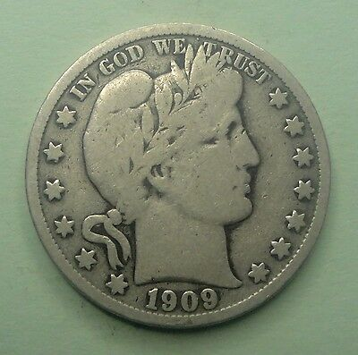 "1909 S  50C Barber Half 90 % Silver US Coin BH143 VG++/F ""TUCK""   FREE SHIPPING"
