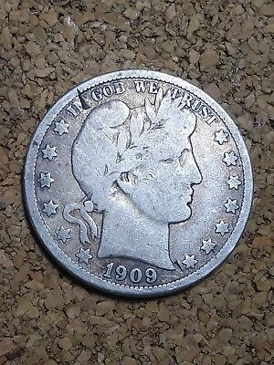 1909 O 50C Barber Half Circulated Condition 90 % Silver US Coin VG BH197