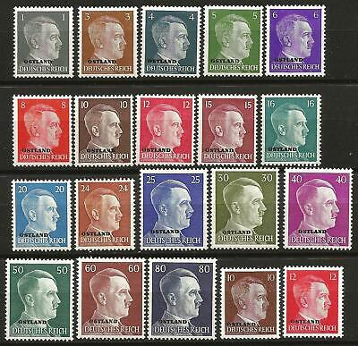 Germany Third Reich Ostland 1941/1943 MNH Hitler Definitives Complete Set 20 v