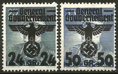Germany Third Reich General Government 1940 MH - 1st Issues O/P Eagle Mi-14-15