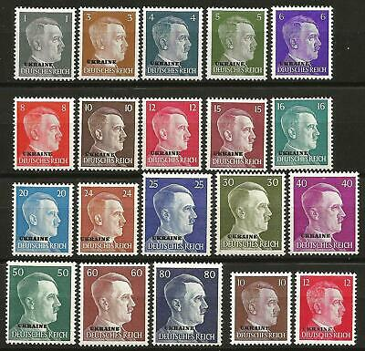 Germany (Third Reich) Ukraine 1941 MNH - Hitler Definitives Complete Set 20 v