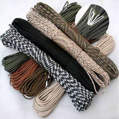 25FT 4MM  550 Paracord Parachute Cord Lanyard Mil Spec Type III 7 Strand Core