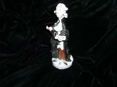"Vintage POLI Character FIGURINE 8"" Tall, Judge or Barrister, Terracotta Pottery,"