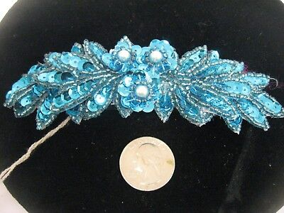Vintage Turquoise Blue Sequin Hair barrette 80'S Great Gatsby Flapper Headpiece