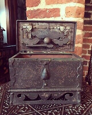 Very Rare Renaissance C 1600 Wrought Iron Nuremberg Casket. Original Decoration.