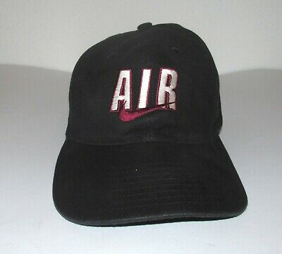 f66e30895a04 Vtg 90s NIKE AIR SWOOSH Black HAT CAP Jordan Flight Force aggasi tennis hip  hop