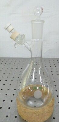 R157779 Chemglass Airfree 500ml Round Bottom Flask w/ Ace Stopper & Valve