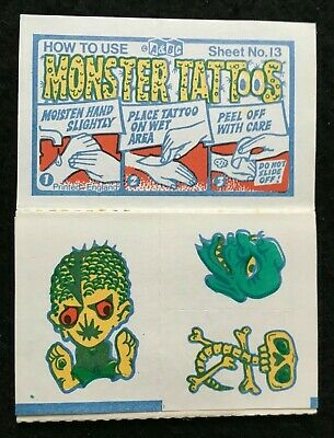 A&BC 1970 Monster Tattoos No.13 Unused Complete Transfer Sheet - Very Good