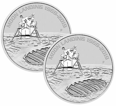 Lot of 2 - 2019 1oz Silver Moon Landing 50th Anniversary BU - Low Mintage!