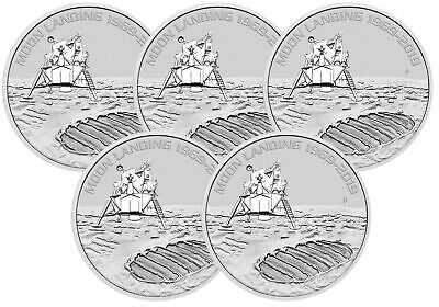 Lot of 5 - 2019 1oz Silver Moon Landing 50th Anniversary BU - Low Mintage!