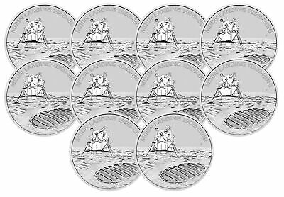 Lot of 10 - 2019 1oz Silver Moon Landing 50th Anniversary BU - Low Mintage!